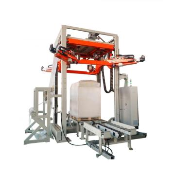 Automatic stretch hood wrapping machine with high efficiency
