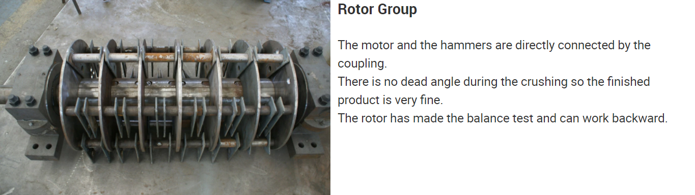 The rotor of the hammer mill