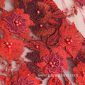 Red Handwork Beaded Embroidery Fabric