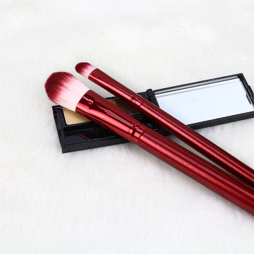 wine red wood handle makeup brush set