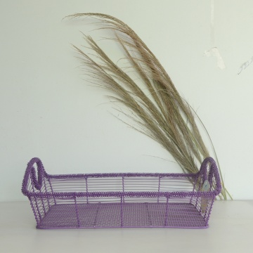 Purple rectangular wire storage basket