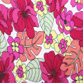 Floral Printed linen rayon plain weave fabric