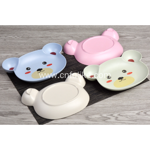 Cute Bear Shape Bamboo Fiber Plates for Kids