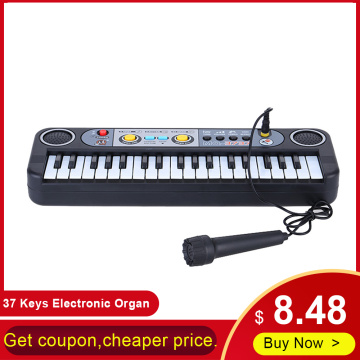 37 Keys Electronic Organ Digital Piano Keyboard with Microphone Kids Toys Stave Music Toy Develop Child's Talents