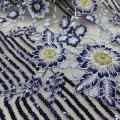 Metallic /Shiny Poly Yarn Navy Sequin Embroidery Fabric