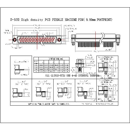 MHDP01-FXXXX D-SUB High density PCB FEMALE MACHINE PIN( 8.89mm FOOTPRINT)