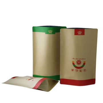 custom leaf-shape kraft stand-up pouch with zipper