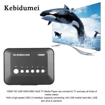 Kebidumei 1080P TV Videos Player SD/MMC Media Player SD MMC RMVB MP3 Multi TV USB HDMI Media Player Box Support USB Hard Disk Dr