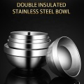 Metal Rice Soup Bowl Heat Insulated Double Walled