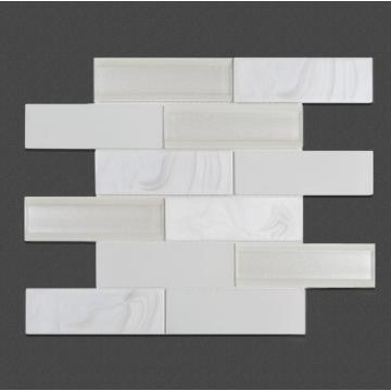 Living Room TV Wall White Glass Mosaic Tiles