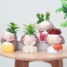 Succulent Plant Pot Cute Girl Flower Planter Flowerpot Create Design Lovely Little Princess Home Garden Bonsai Pots