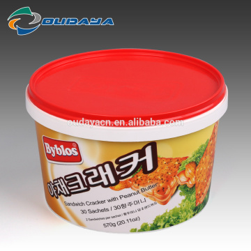 Plastic Round bucket Sandwich Cracker Biscuit Bucket