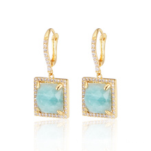 Natural Amazon Stone Gold Plated Silver Earrings