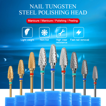 1 Pc Mixed Sizes Nail Grinding Head Tungsten Steel Electric Nail Art Drill Gold Silver Nail Sanding Polishing Accessories