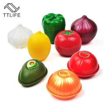 Kitchen Food Crisper Vegetable Containers Onion Garlic Avocado Tomatoes Lemon Green Pepper Fresh Storage Box Drop Shipping