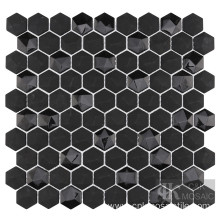 Black Shiny Hexagon Recycled Glass Solid Color Mosaic