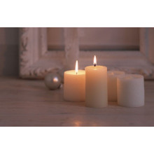 White Unscented Smooth Surface Pillar  Candles