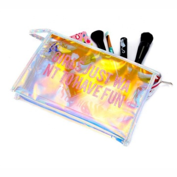 Lightweight Easy Taking Luminous Holographic PVC Waterproof Cosmetic Bag