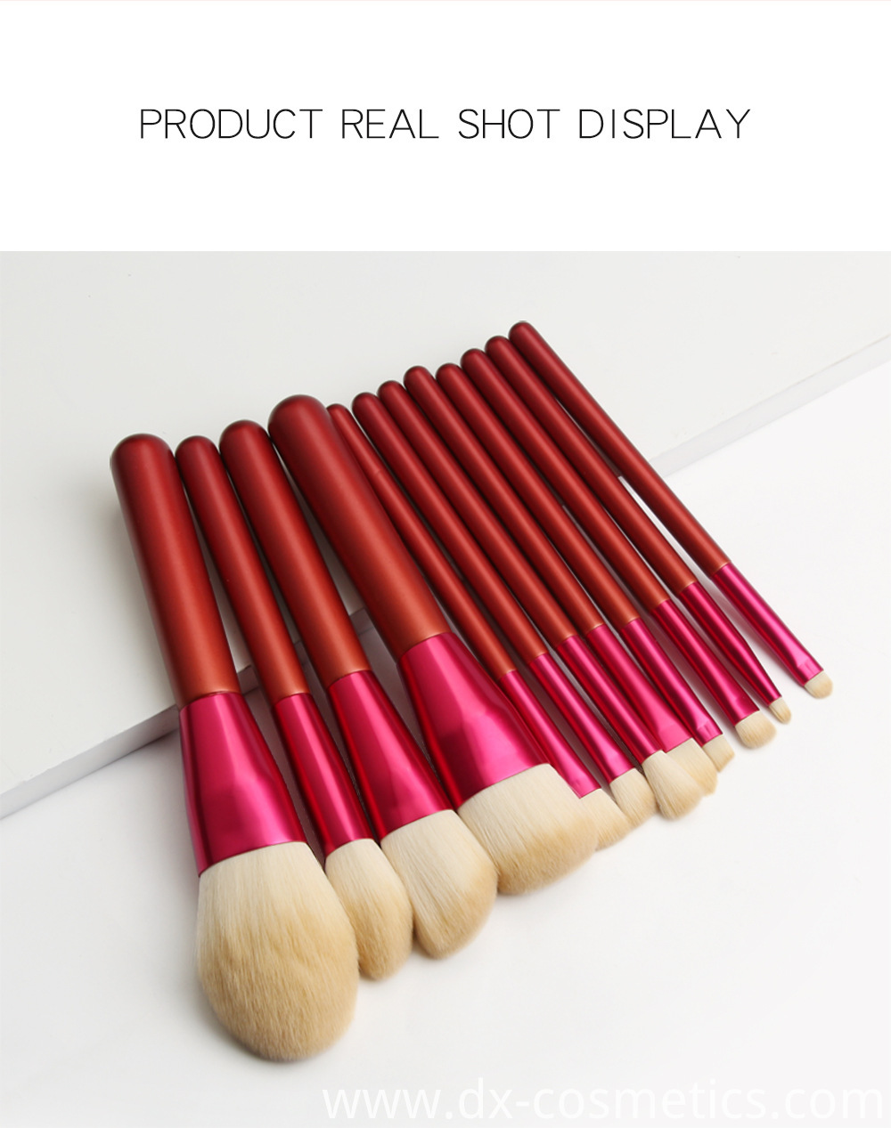 12 PCS Red Handle Makeup Brushes Set Size 7