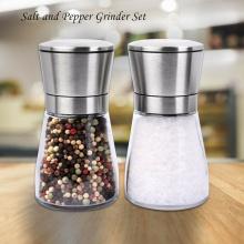 2pcs Stainless Steel Pepper & Salt Grinders Muller Adjustable Ceramic Manual Herb Mills Spice Seasoning Choppers Glass Body