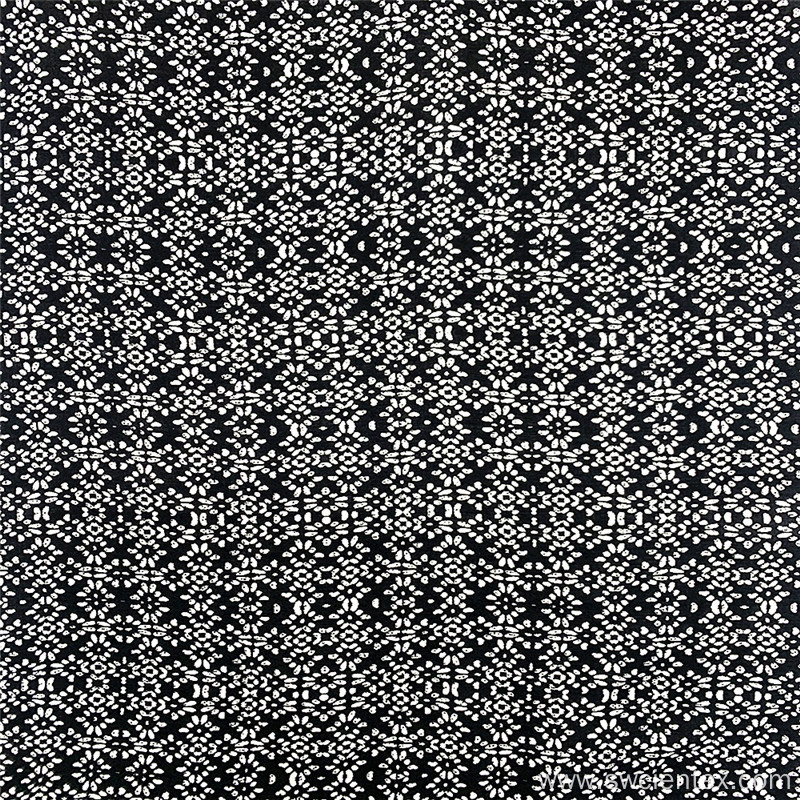 Contracted Style Black White Dobby Rayon Garment Fabric