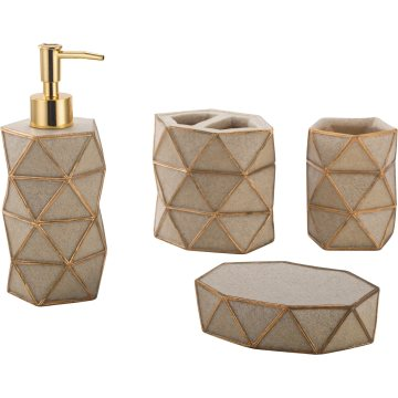Popular Factory Direct Polyresin Bathroom Accessory 4PCS