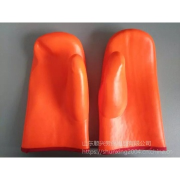Fluorescent PVC mittens with sponge composite cloth lining