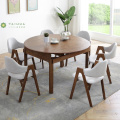 Extendable Dark Rubber Wood Round Table for 6