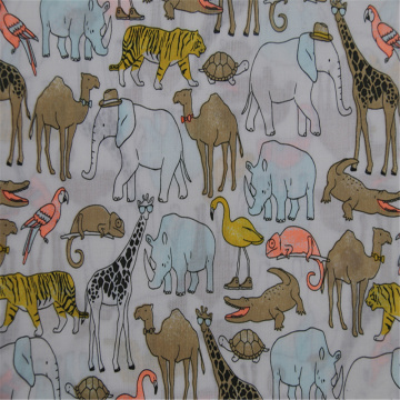 Animal Printed With Cotton Plain Cloth