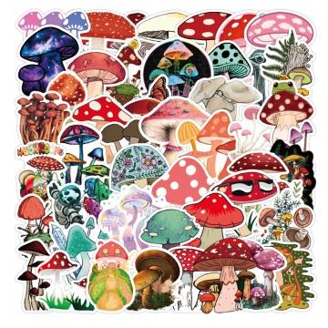 50pcs Waterproof Cartoon Stickers Cute Color Mushroom Sticker Skateboard Suitcase Guitar Children Graffiti Sticker Kids Toy