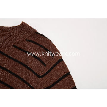 Women's Knitted Lurex Striped Crew-Neck Pullover