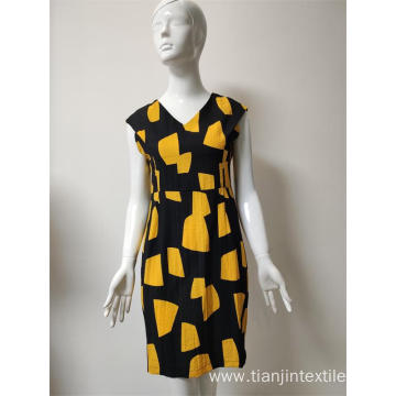 Printed viscose/nylon/linen sleeveless dress