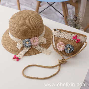 Newborn bowknot children summer sun hat hand bag