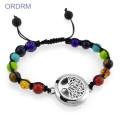 Chakra tree of life locket charm diffuser bracelet