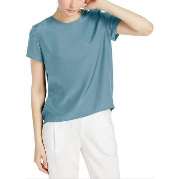 Silk Shirt Blouse Short Sleeve Casual Round Neck