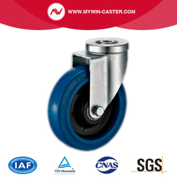 Bolt Hole Swivel Blue Elastic Rubber Caster