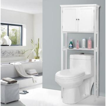 Wooden Standing Tall White Bathroom Cabinet