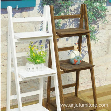 Anticorrosive wood flower multi-layer outdoor balcony floor indoor folding ladder shelf storage