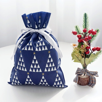 Blue Japan Christmas Drawstring Gift Bag