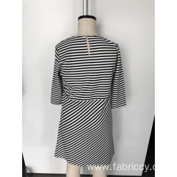 A-line striped long-sleeved dress