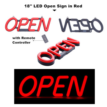18'' Red Open Sign LED Light for Shop