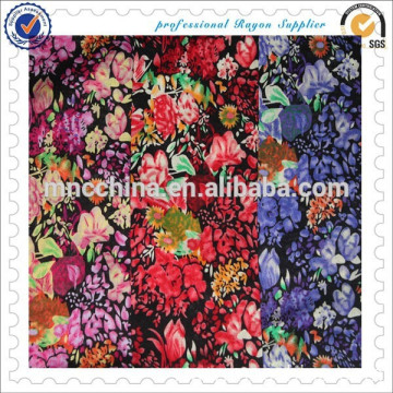 100%rayon printed challis fabric for clothing