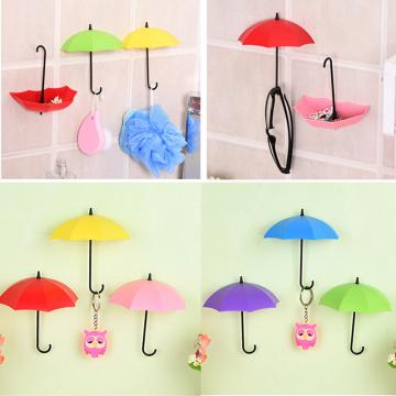 3Pcs/lot Umbrella Shape Cute Self Adhesive Wall Door Hook Hanger Bag Keys Bathroom Kitchen Sticky Holder Home Supply