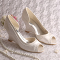 Peep Toe Lace and Satin Wedge Wedding Heels