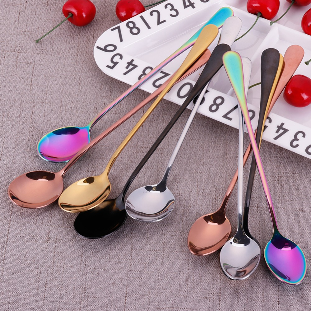 New Stainless Steel Long Handled Coffee Spoon Home Party Cold Drink Fruit Ice Cream Dessert Tea Spoon #260599