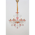 Living Room Design Red Painting K9 Crystal Chandelier
