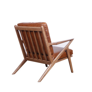 Mid Century Wooden Leather Z Lounge Chair