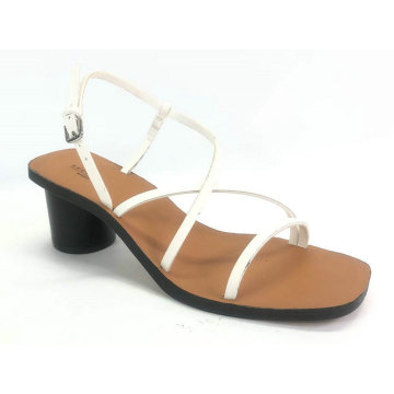 Ladies stripe upper with chunky round heel sandal