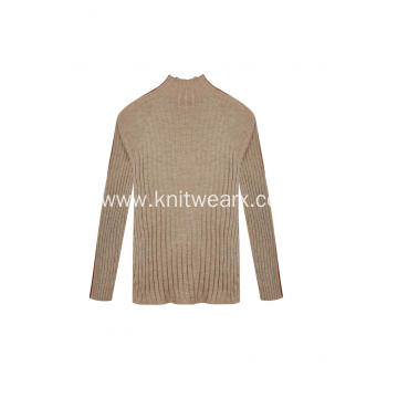 Women's Knitted all ribbed Stretchable Mock-Neck Pullover