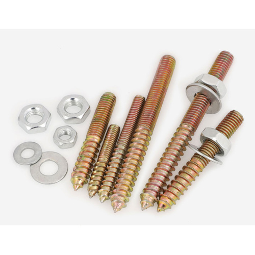 Double Head Thread Screw Brass Plated